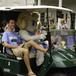 N.C. Tar heel mascot...driving the golf cart?!