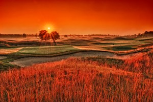 Sunrise over 16 green