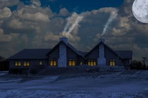 Moonlit view of the clubhouse
