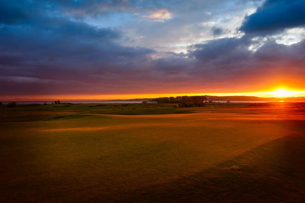 Sunrise over Craigielaw golf course
