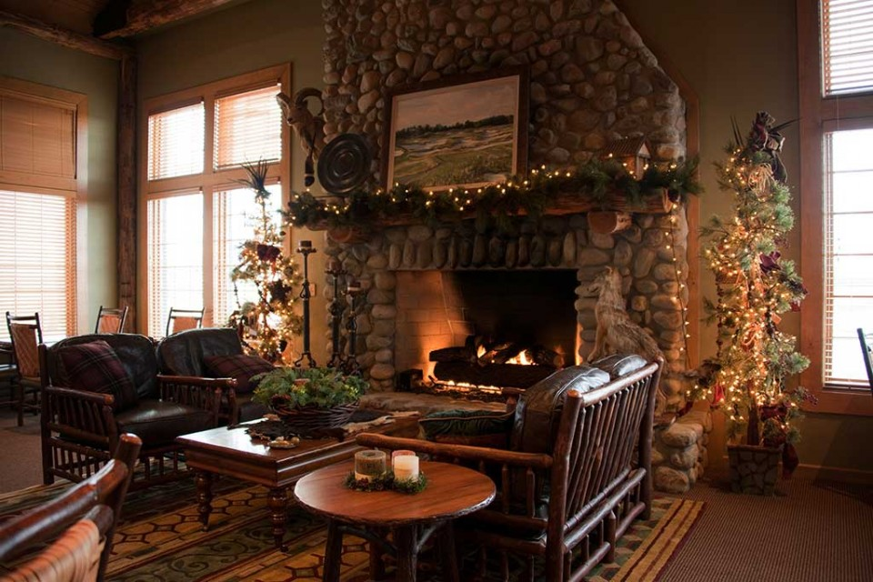Intimate lounge with fireplace