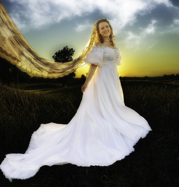 Sunset behind the bride