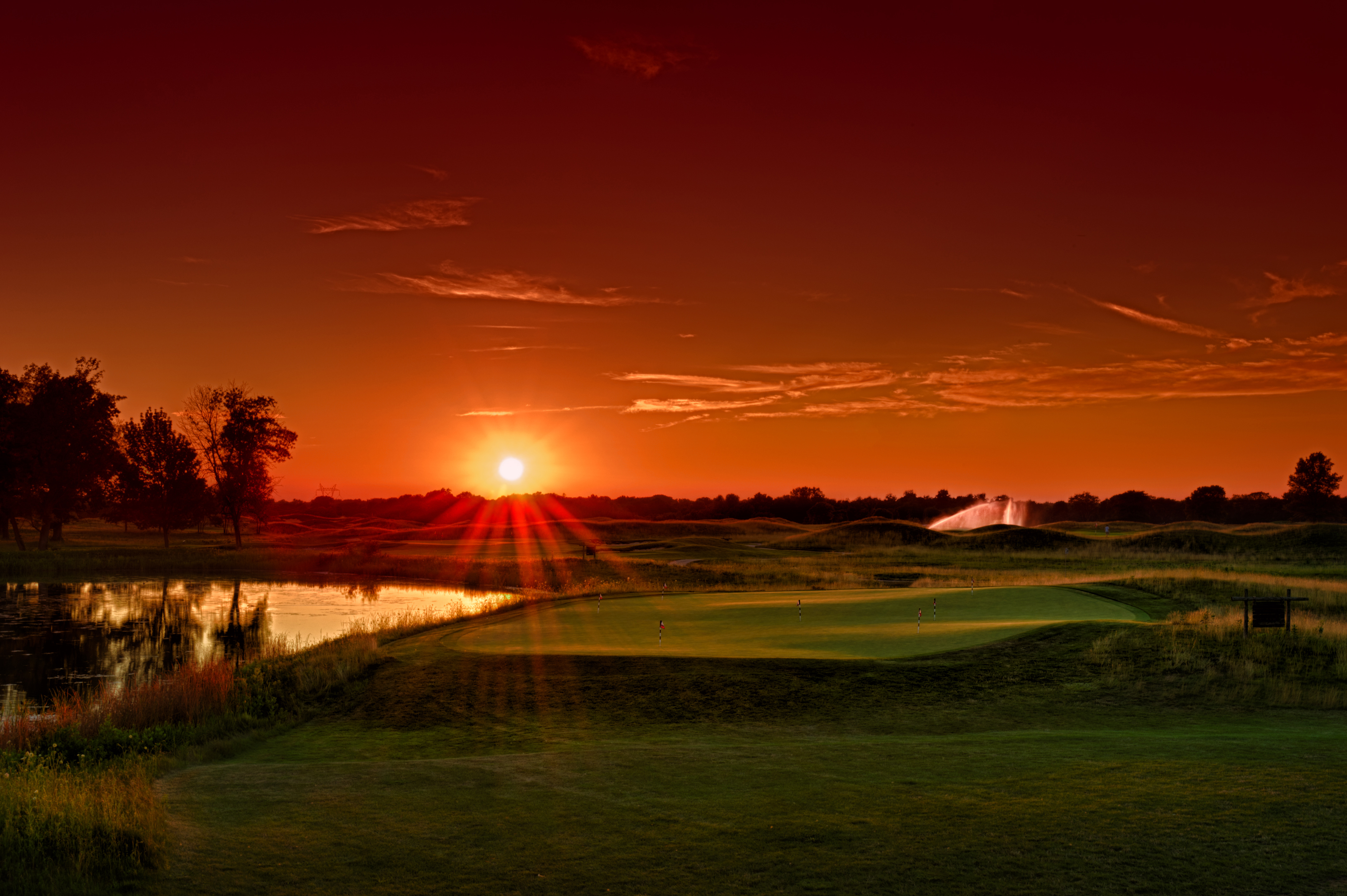 Sunset over the short game practice area - Purgatory Golf Club