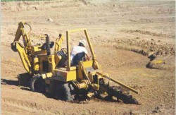 Trench dug for drain tile with a trencher.